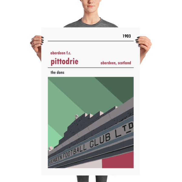 A stadium print poster of Aberdeen FC and their home ground of Pittodrie Merkland Road entrance. The Dons. Huge