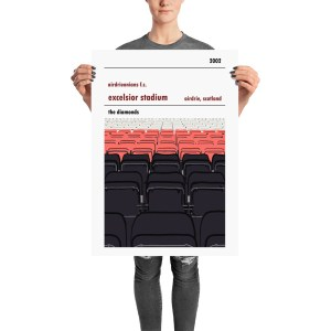 A stadium print poster of Airdrieonians FC and their home ground (stands) of Excelsior Stadium. The Diamonds. Large