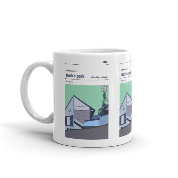 A coffee mug of Stark's Park and Raith Rovers Main stand