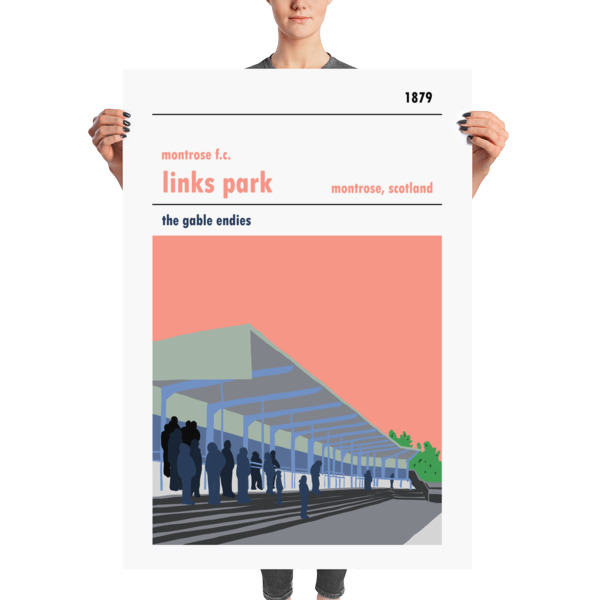 A massive football poster of Links Park and Montrose FC