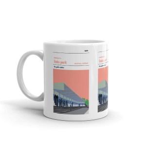 A coffee mug of Links Park, the Dynamo and Montrose FC