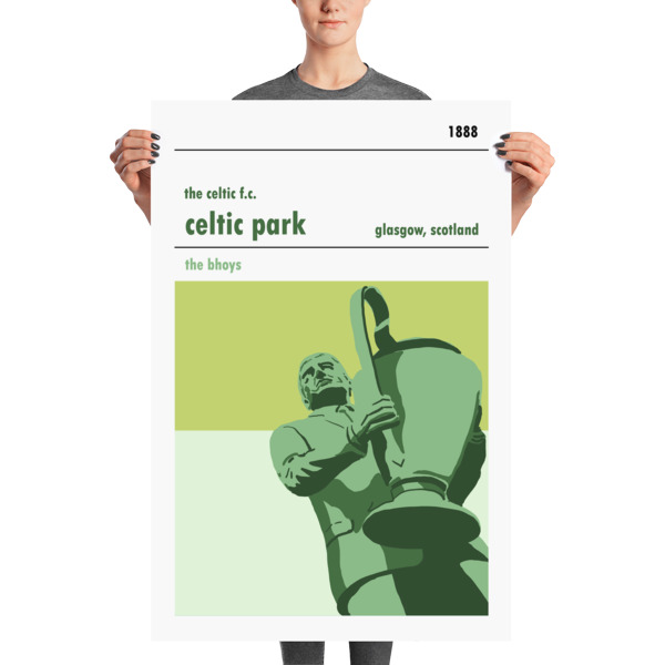A huge football poster of Celtic Park and Jock Stein