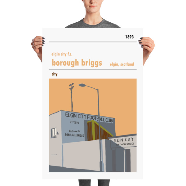 A huge football poster of Borough Briggs and Elgin City FC