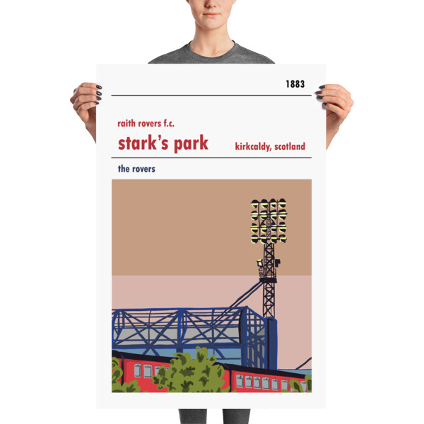 A huge poster of Stark's Park, home to Raith Rovers, and the train line