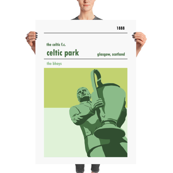 A massive football poster of Celtic Park and Jock Stein