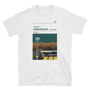 A white t-shirt of McDiarmid Park and St Johnstone FC