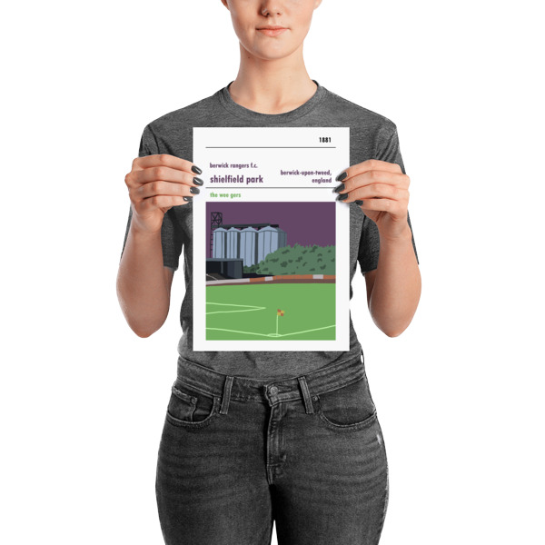 A small football poster of Shielfield Park, Berwick Rangers FC