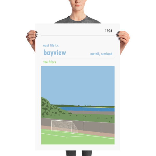 A huge football poster of Bayview and East Fife FC