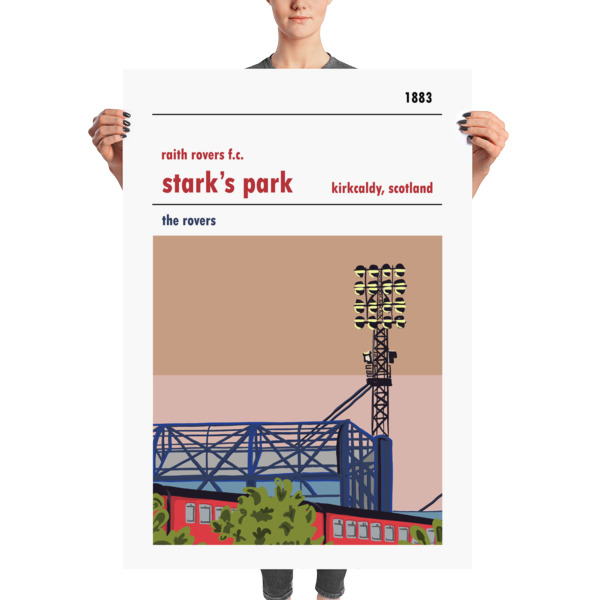 A massive poster of Stark's Park, home to Raith Rovers, and the train line