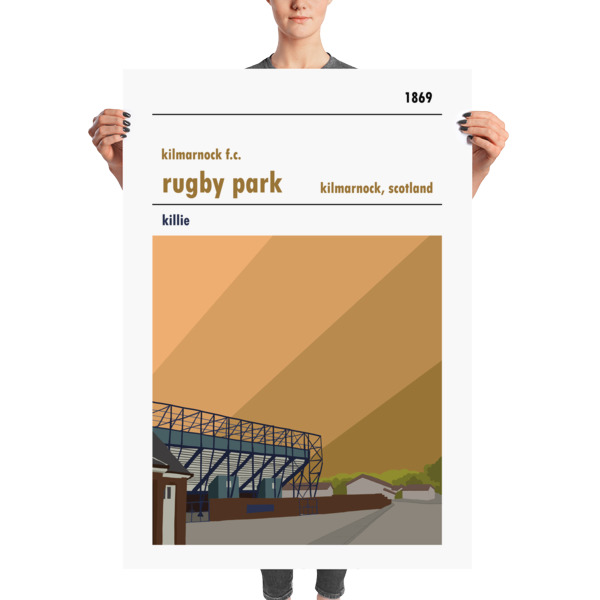 A massive football poster of Rugby Park and Kilmarnock FC