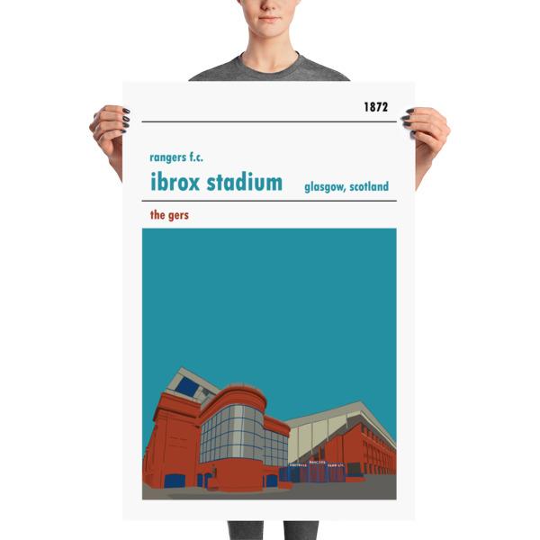 A large stadium print of Ibrox stadium, home to Rangers FC