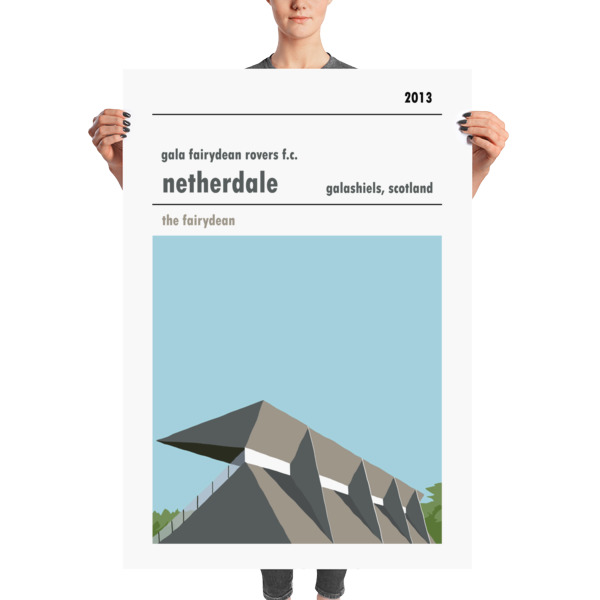 A huge stadium print of Netherdale, home to Gala Fairydean Rovers FC.