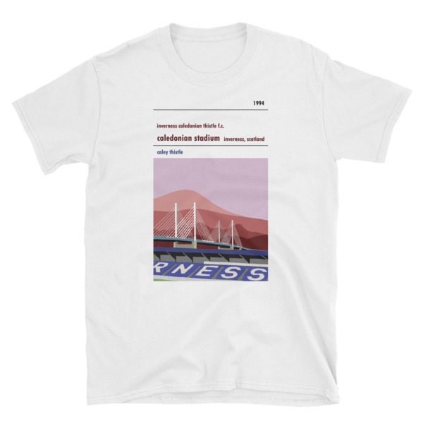 A t-shirt of Caledonian Stadium, home to ICTFC, showing the Keswick Bridge
