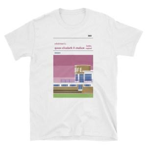 A t-shirt of Enfield Town's QEII stadium on Donkey Lane
