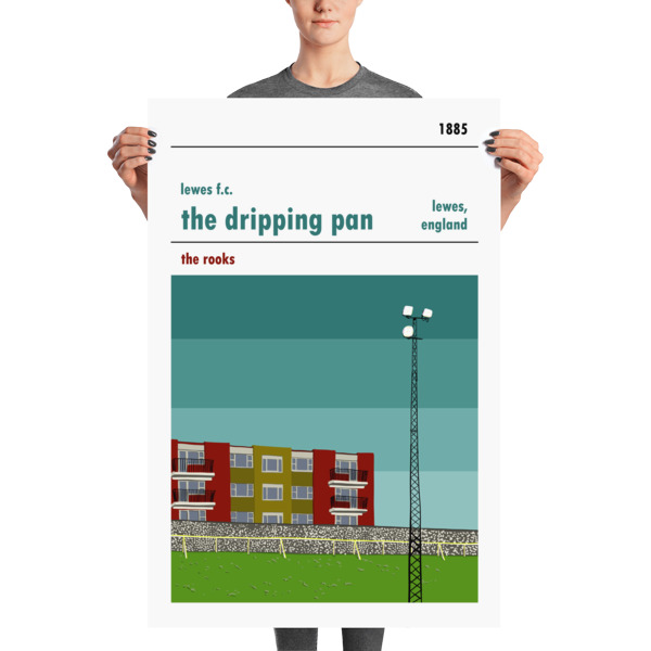 A large stadium poster of the Dripping Pan and Lewes FC