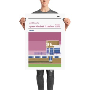 A football poster of Enfield Town FC and Queen Elizabeth II stadium, Donkey Lane. The Towners
