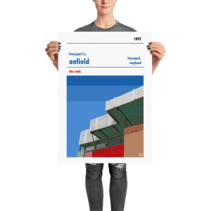 A retro poster of Anfield and Liverpool FC