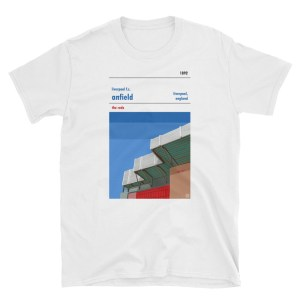A white t shirt of Liverpool FC and Anfield