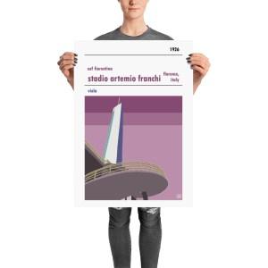 A retro football poster of ACF Fiorentina and Stadio Artemi Franchi