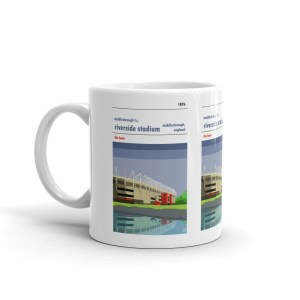 A coffee mug of Middlesbrough FC and the Riverside Stadium