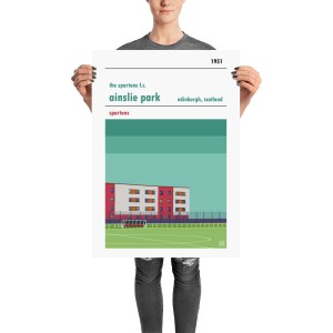 A retro football poster of The Spartans FC and Ainslie Park