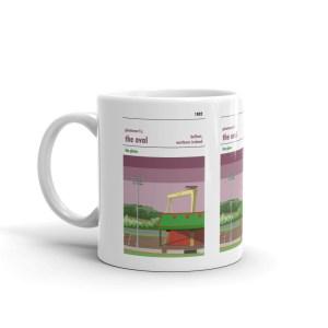A coffee mug of Glentoran FC and the Oval