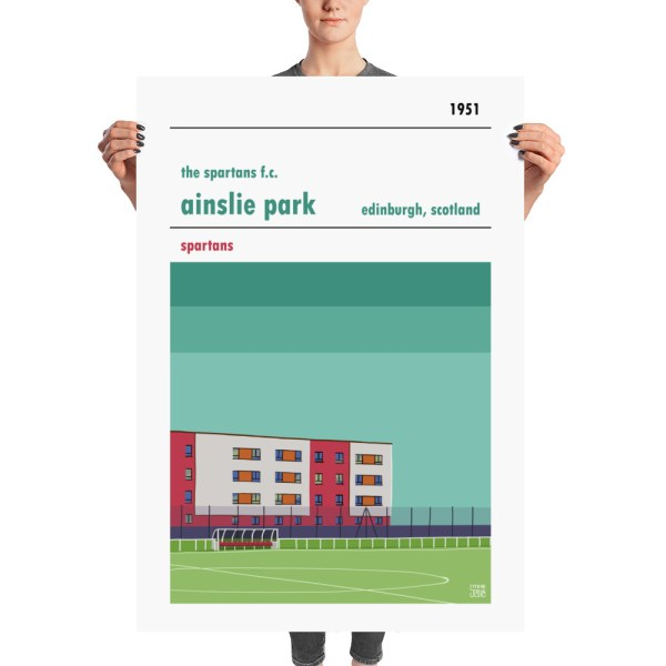 A huge football poster of The Spartans FC and Ainslie Park