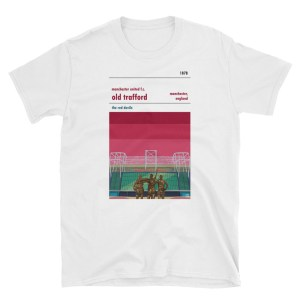 A white t shirt of Man Utd and Old Trafford