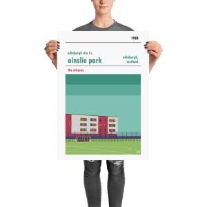 A vintage football poster of Edinburgh City FC and Ainslie Park