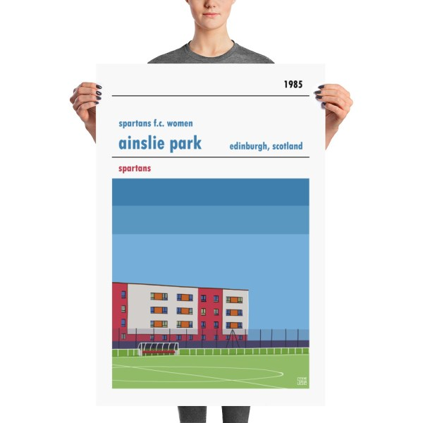 A large football poster of Spartans women's FC and Ainslie Park