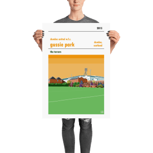 A football poster of Gussie Park and Dundee United WFC