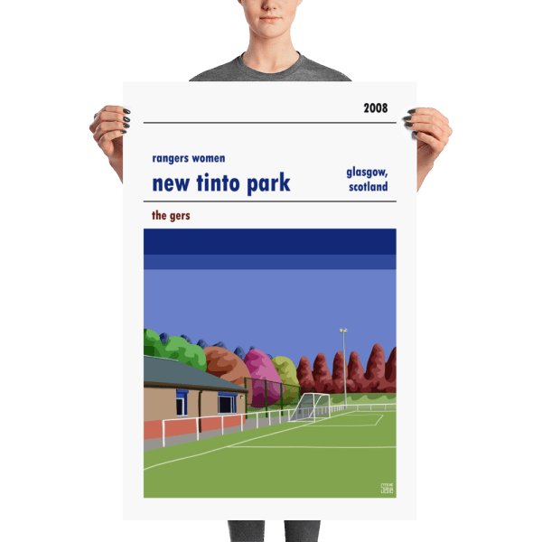 A large stadium poster of Rangers WFC and New Tinto Park