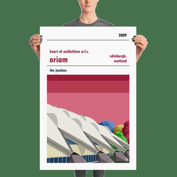 A large Hearts Women FC football poster of the Oriam, Edinburgh