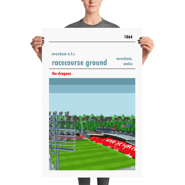 A large football poster of the Racecourse Ground and Wrexham FC