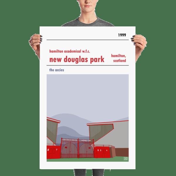 A large stadium poster of New Douglas Park and Hamilton Accies WFC
