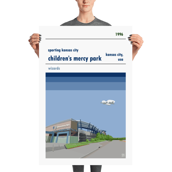 A large football poster of Sporting Kansas City and Children's Mercy Park