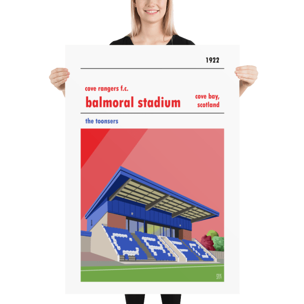 A huge poster of Balmoral Stadium, home to Cover Rangers, the Toonsers