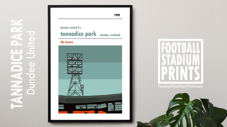 A framed print of Tannadice Park and the Jerry Kerr Stand, home to Dundee United FC