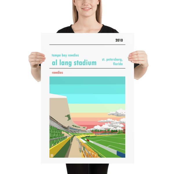 Large football poster of Al Lang Stadium and the Tampa Bay Rowdies