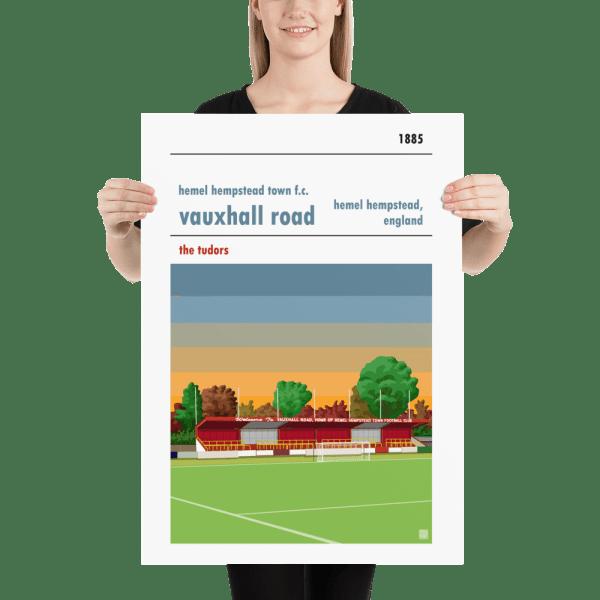 Large football poster of Hemel Hempstead FC and Vauxhall Road