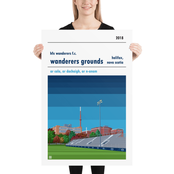 Huge football poster of HFX Wanderers and Wanderers Ground