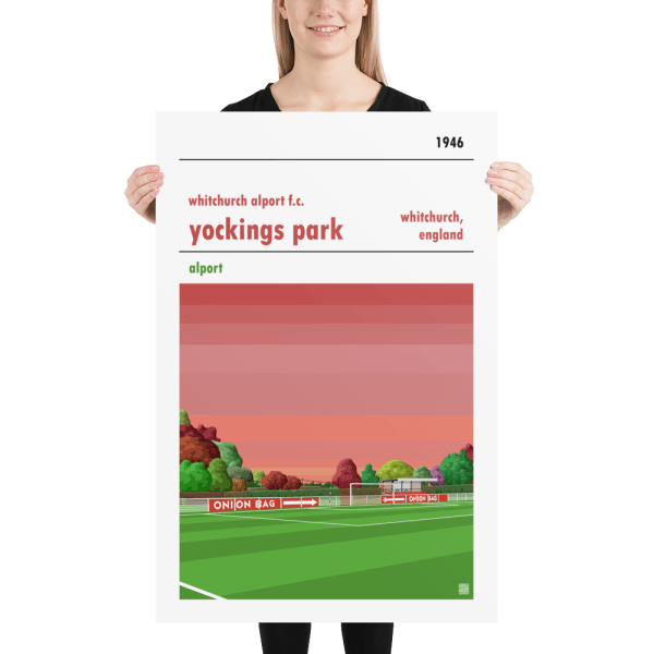 Huge football poster of Whitchurch Alport FC and Yockings Park