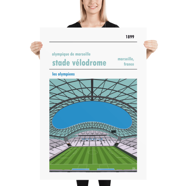 Massive football poster of Olympique de Marseille and Stade Velodrome