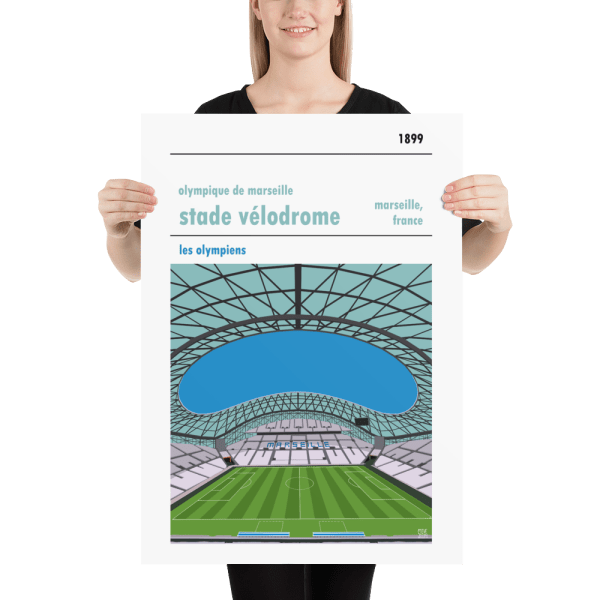 Large football poster of Olympique de Marseille and Stade Velodrome