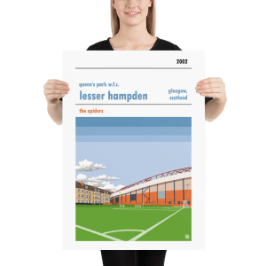 Large football poster of Queen's Park WFC and Lesser Hampden