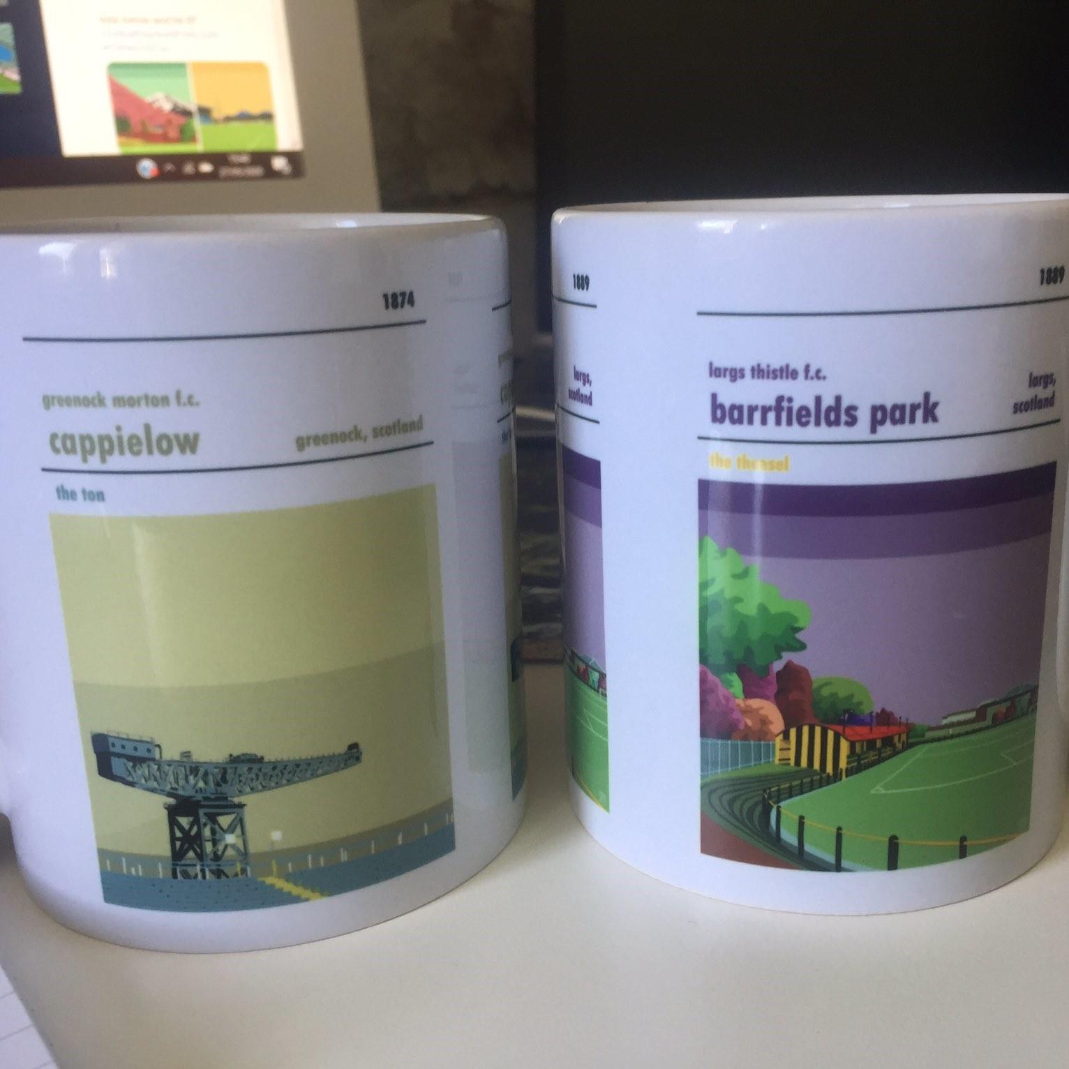 Greenock Morton and Largs United coffee mugs