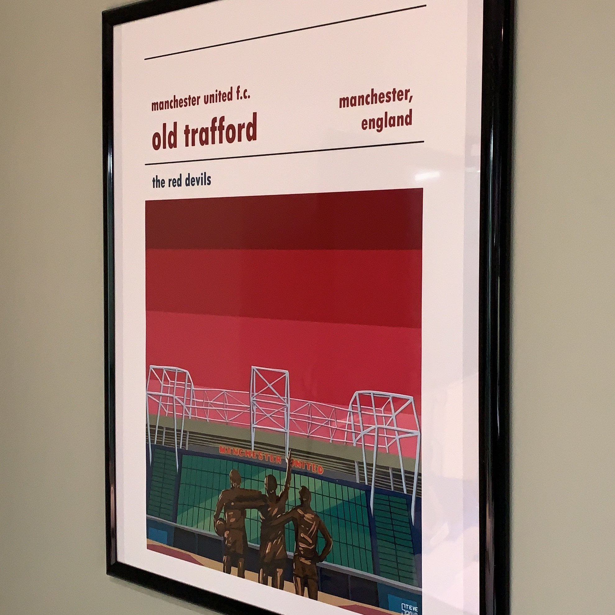 Football print of Man United and Old Trafford