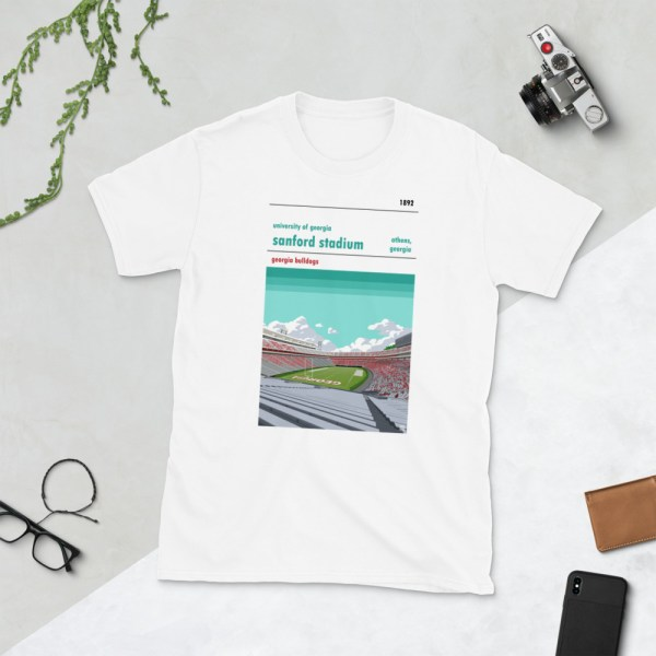 White Georgia Bulldogs and Sanford Stadium t-shirt