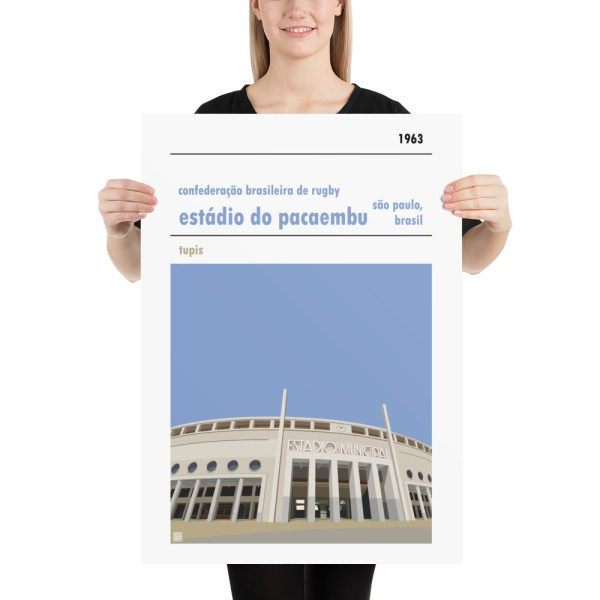 Large rugby poster of Estadio do Pacaembu and Brazilian Rugby