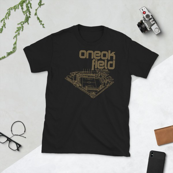 Black and Gold ONEOK Field and FC Tulsa t-shirt